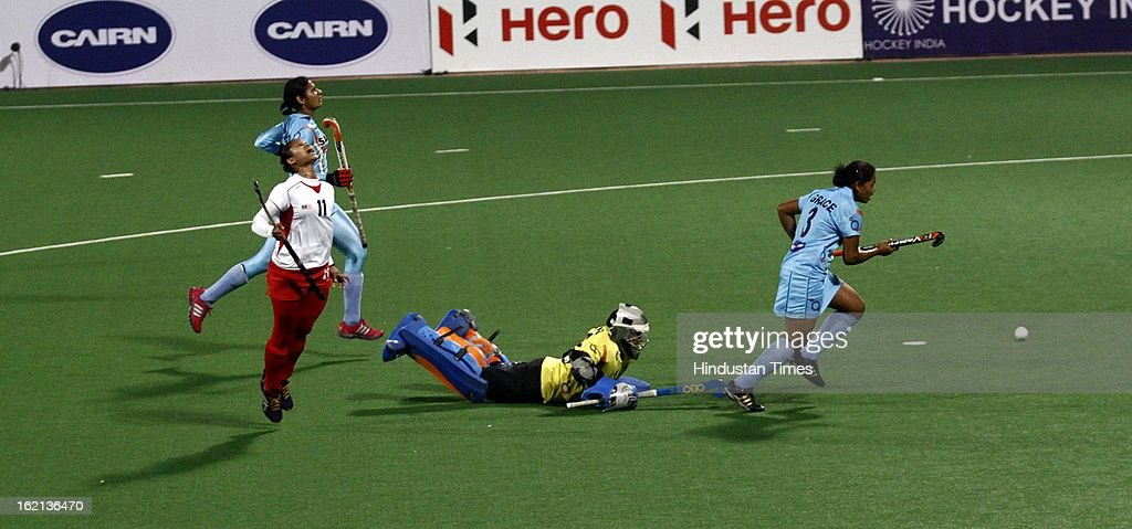 Malaysia Women Hockey Player Nor Azlin reacts as she fails to score against India during the Hockey World League Round 2 match at Dhyan Chand Stadium on February 19, 2013 in New Delhi, India. Indian Eves won the match 3-0.