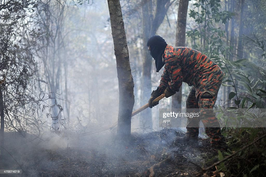 A Malaysian fireman beats a bushfire in Taman Bukit Melawati park in Kuala Lumpur on February 18, 2014. There were 312 bush fires reported nationwide on February 12 in just 24 hours during a dry spell this month in Malaysia, local media reported.