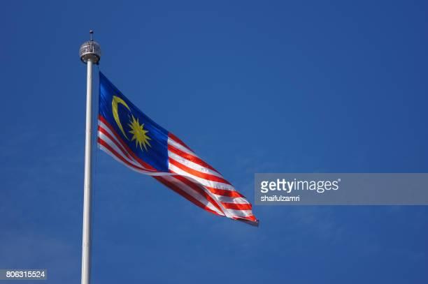 Malaysian flag waving in the wind