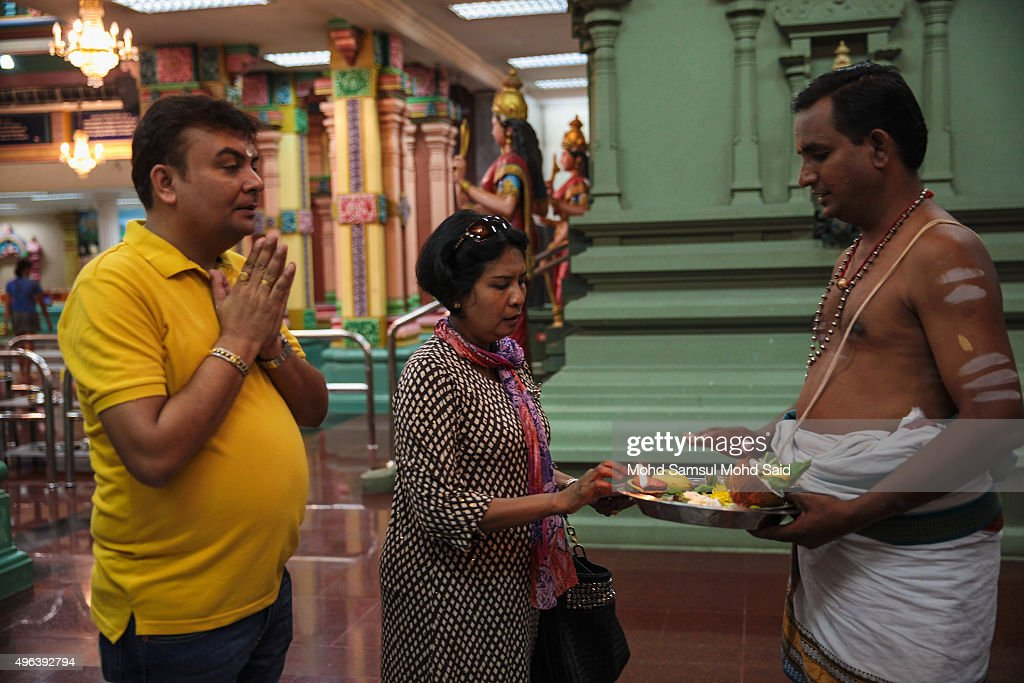 Malaysian Hindus pray inside a temple ahead of Diwali celebrationsr on November 9, 2015 in Kuala Lumpur, Malaysia. The Hindu community, which consists of eight percent of Malaysia's population of 26 million, will celebrate Diwali, the festival of lights on November 10, known locally as Deepavali.