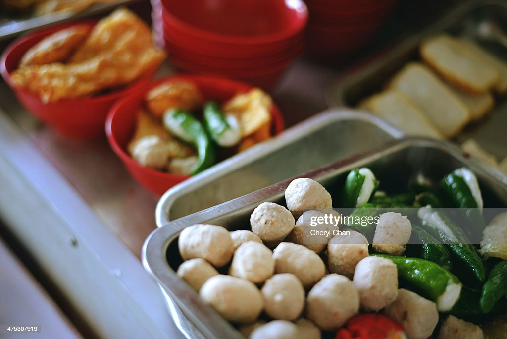 Malaysian meatball and stuffed chilies : Stock Photo