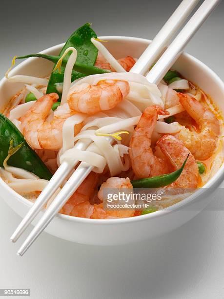 Malaysian noodles with prawns, elevated view