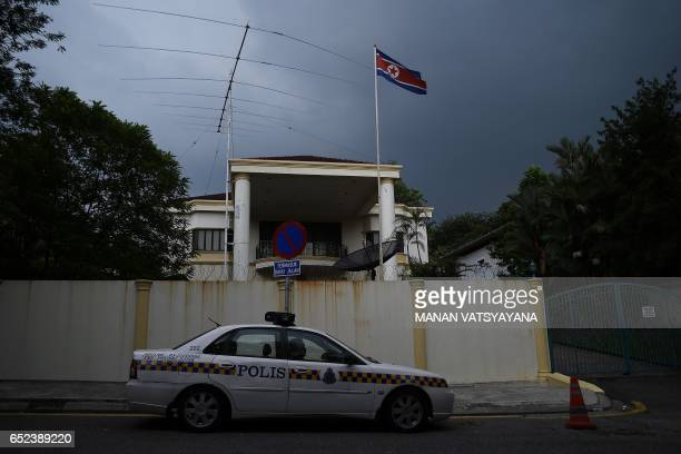 A Malaysian Police car is seen parked outside the North Korean embassy in Kuala Lumpur on March 12 2017 Malaysia hopes to open negotiations with...