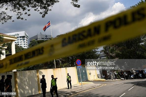 Malaysian police cordon off the area outside the North Korean Embassy in Kuala Lumpur on February 23 2017 ahead of a protest by the United Malays...