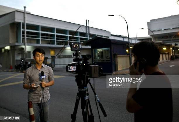 A Malaysian Police personnel mans the main gate of the Forensic wing at the Hospital Kuala Lumpur in Kuala Lumpur on February 17 where the body of a...