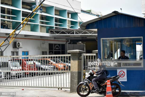 Malaysian police pictured at the gate of the forensics wing of the Hospital Kuala Lumpur on March 14 2017 Where the body of Kim JongNam is being kept...