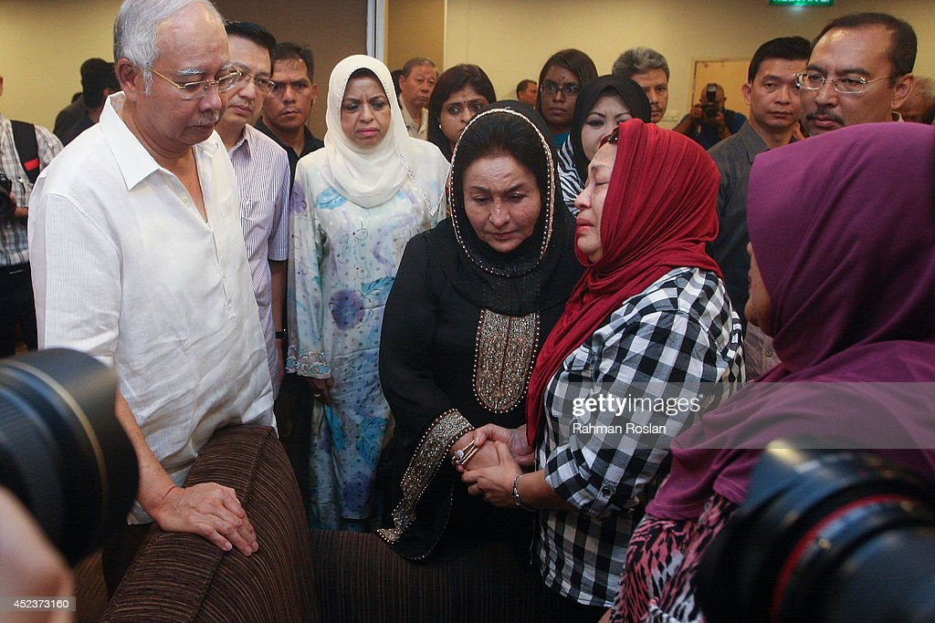 Malaysian Prime Minister Najib Razak and his wife Rosmah Mansor meet family members of the MH17 victim on July 19, 2014 in Kuala Lumpur, Malaysia. Malaysia Airlines flight MH17 was travelling from Amsterdam to Kuala Lumpur when it crashed killing all 298 on board including 80 children. The aircraft was allegedly shot down by a missile and investigations continue over the perpetrators of the attack.