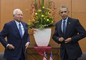 Malaysian Prime Minister Najib Razak and US President Barack Obama look on following a meeting at the Kuala Lumpur Convention Center prior to the...