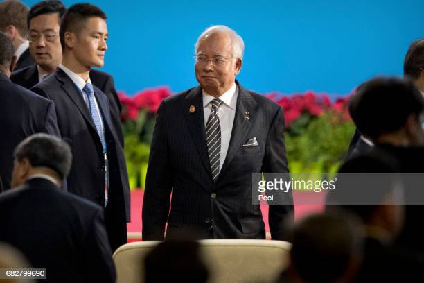 Malaysian Prime Minister Najib Razak arrives for the opening ceremony of the Belt and Road Forum at the China National Convention Center on May 14...