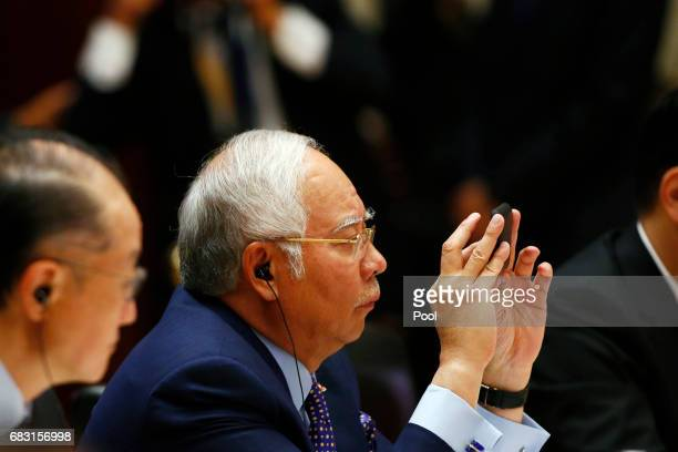 Malaysian Prime Minister Najib Razak attends a summit at the Belt and Road Forum on May 15 2017 in Beijing China The Belt and Road Forum focuses on...