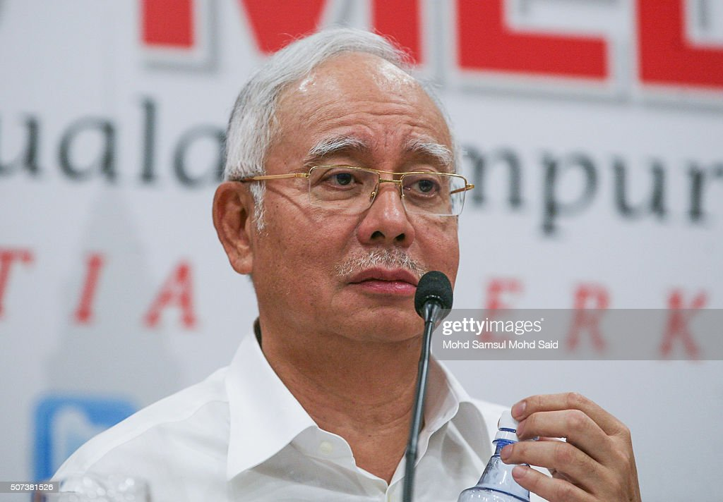 Malaysian Prime Minister Najib Razak speaks at a news conference after attending the UMNO Supreme Council meeting at Putra World Trade Centre (PWTC) on January 29, 2016 in Kuala Lumpur, Malaysia. Najib has ardently denied all allegations of wrongdoing and penalized those politicians who have suggested otherwise, $700 million in cash from an ailing state development fund into his personal bank accounts