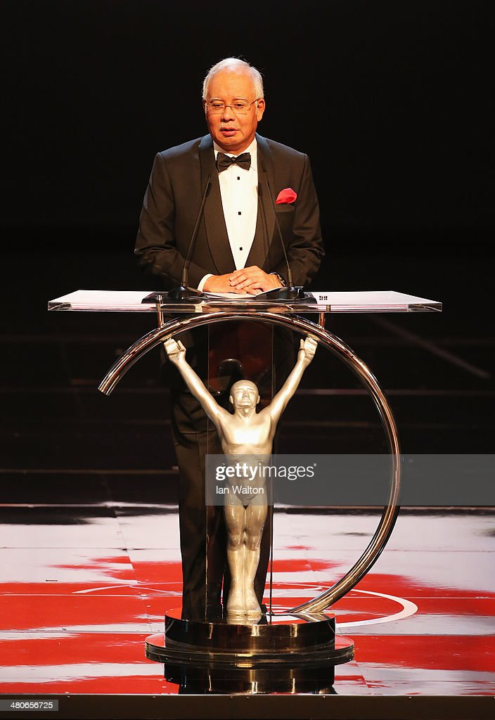 Malaysian prime minister Tun Abdul Razak speaks on stage during the 2014 Laureus World Sports Award show at the Istana Budaya Theatre on March 26, 2014 in Kuala Lumpur, Malaysia.