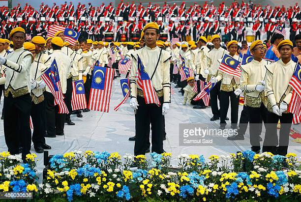 Malaysian students perform a dance during the celebrations of 58th National Day celebrations at Merdeka Square on August 31 2015 in Kuala Lumpur...