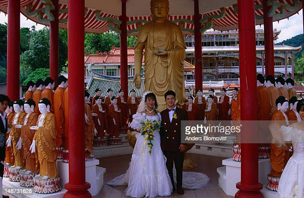 Malaysian wedding couple, Kek Lok Si Temple, Georgetown, Penang