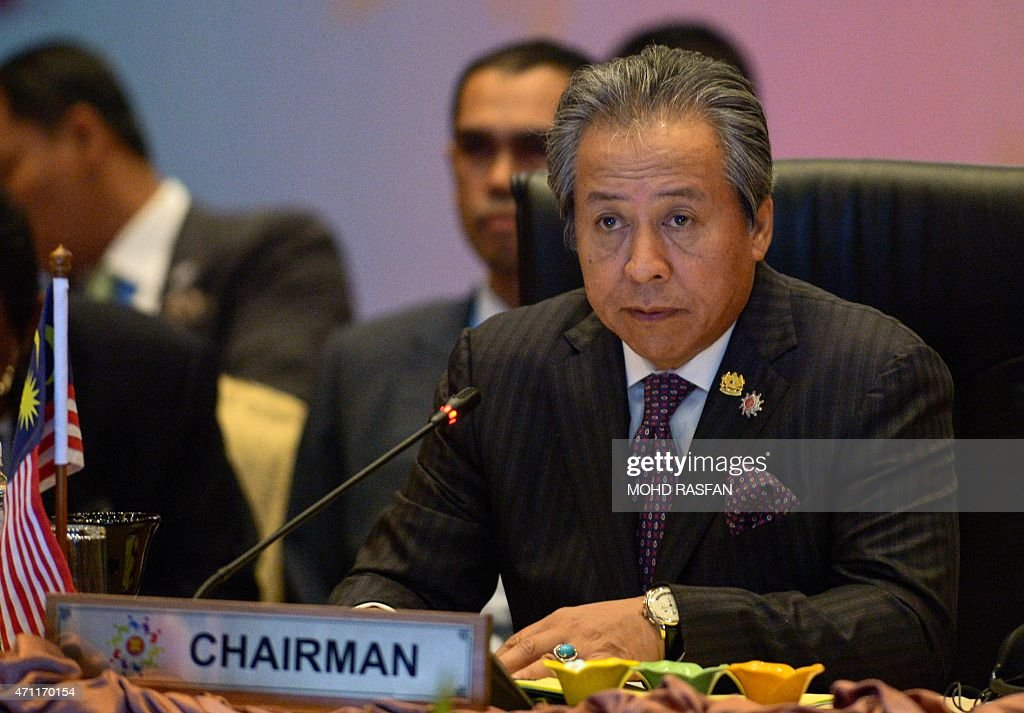Malaysia's Foreign Minister <a gi-track='captionPersonalityLinkClicked' href=/galleries/search?phrase=Anifah+Aman&family=editorial&specificpeople=5958202 ng-click='$event.stopPropagation()'>Anifah Aman</a> attends the ASEAN Foreign Ministers Meeting (AMM) during the 26th ASEAN Summit in Kuala Lumpur on April 26, 2015. China's creation of new island footholds in contested seas will hover over a Southeast Asian summit that has become an annual test of the region's nerve in standing up to its massive neighbour. AFP PHOTO / MOHD RASFAN