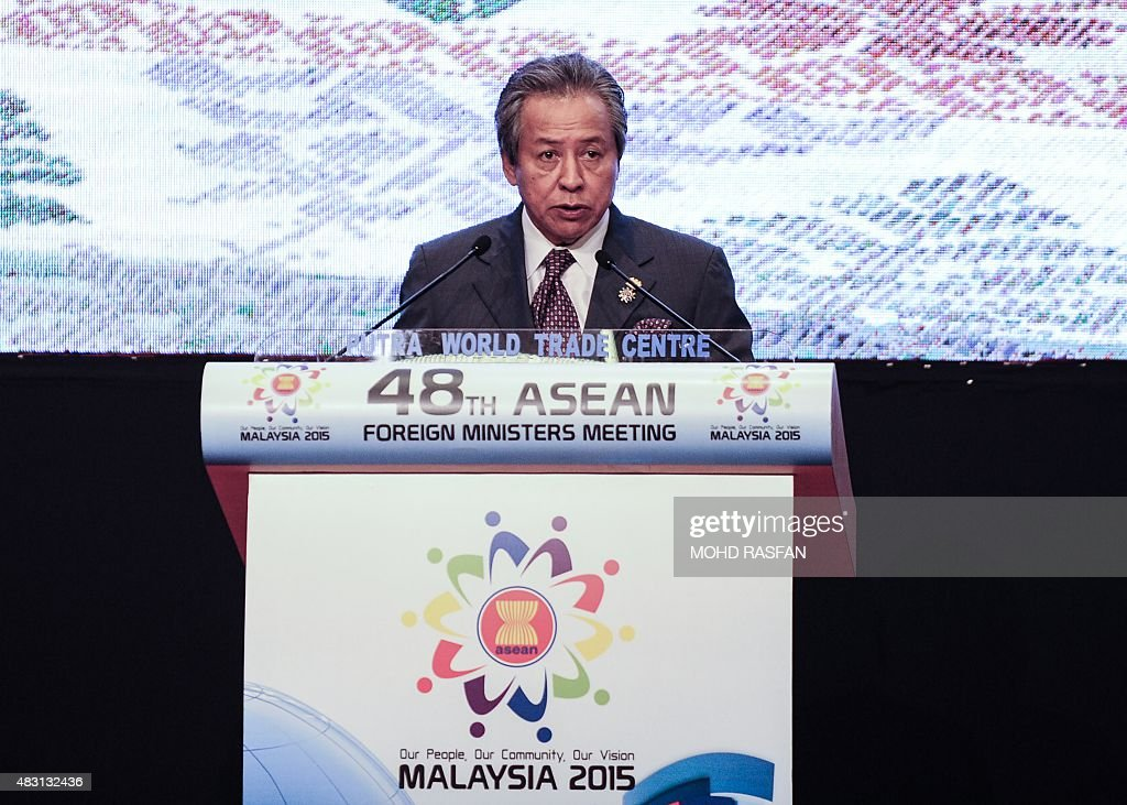 Malaysia's Foreign Minister <a gi-track='captionPersonalityLinkClicked' href=/galleries/search?phrase=Anifah+Aman&family=editorial&specificpeople=5958202 ng-click='$event.stopPropagation()'>Anifah Aman</a> delivers his speech during the closing ceremony of the 48th Association of Southeast Asian Nations (ASEAN) Foreign Ministers meeting at the Putra World Trade Centre in Kuala Lumpur on August 6, 2015. The United States warned on August 6 it would not tolerate efforts to control sea and air routes in the South China Sea, as Southeast Asian nations debated how hard to pressure Beijing on its island-building.