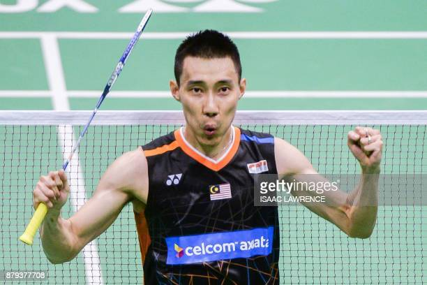 Malaysia's Lee Chong Wei reacts after winning the men's singles final against China's Chen Long at the Hong Kong Open badminton tournament in Hong...
