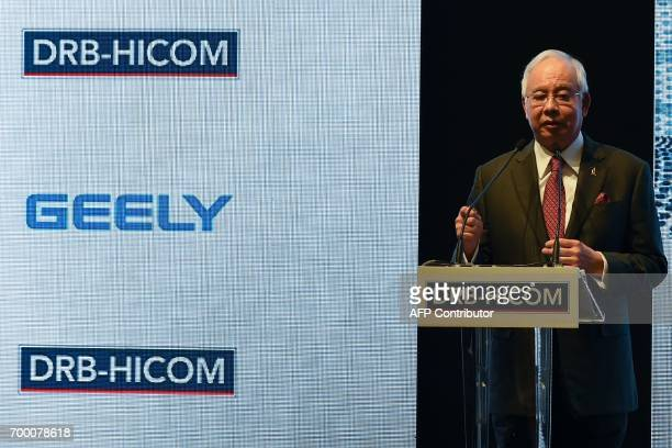 Malaysia's Prime Minister Najib Razak speaks before the signing ceremony between DRBHICOM Berhad and Zhejiang Geely Holding Group in Kuala Lumpur on...