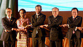 Malaysia's Secretary General of the Foreign Ministry Tan Sri Othman Hashim Myanmar's State Councellor and Foreign Minister Aung San Suu Kyi...