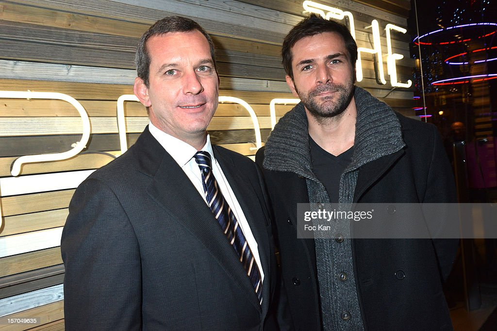 Malboro Classics CEO Mario Rinaldi and Gregory Fitoussi attend the MCS 'We The People' launch party at MCS Champs Elysees on November 27, 2012 in Paris, France.