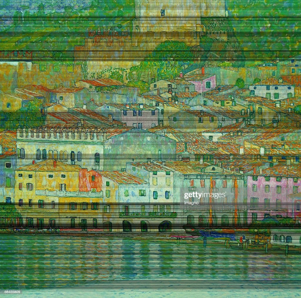 Malcesine at the Gardasee. D186. Oil on Canvas by Gustav Klimt. 1913. Burnt at Castle Immendorf in 1945. (Photo by Imagno/Getty Images) [Malcesine am Gardasee. D186. oel/Lwd. 1913. 1945 im Schloss Immendorf verbrannt.]