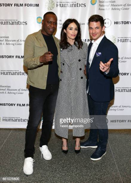 Malcolm Barrett Abigail Spencer and Matt Lanter attend the screening of NBC and Sony Pictures Television Series Timeless at the Smithsonian National...