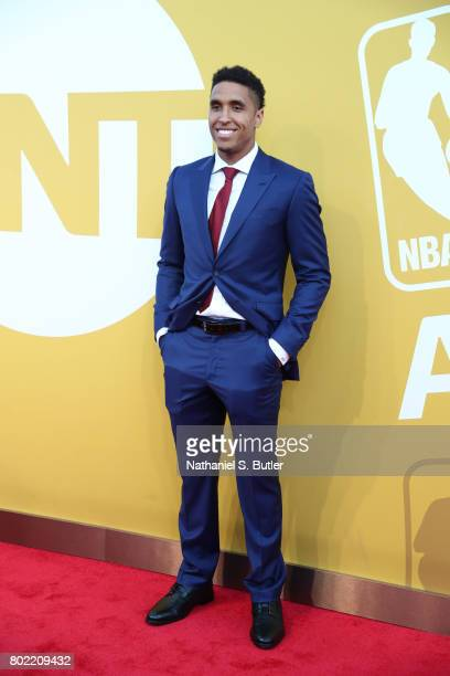 Malcolm Brogdon of the Milwaukee Bucks arrives at the red carpet at the NBA Awards Show on June 26 2017 at Basketball City at Pier 36 in New York...