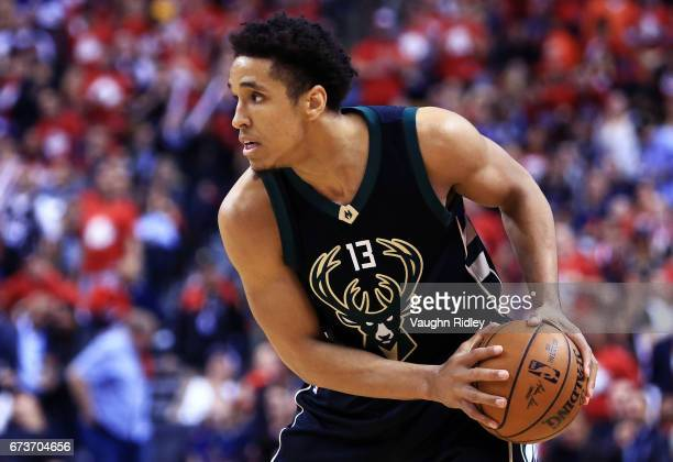 Malcolm Brogdon of the Milwaukee Bucks dribbles the ball in the second half of Game Five of the Eastern Conference Quarterfinals against the Toronto...