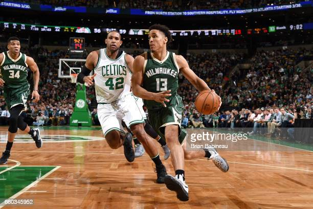 Malcolm Brogdon of the Milwaukee Bucks drives to the basket during the game against the Boston Celtics on March 29 2017 at TD Garden in Boston...