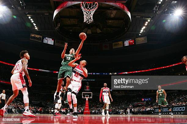Malcolm Brogdon of the Milwaukee Bucks goes for a lay up against the Washington Wizards during the game on December 10 2016 at Verizon Center in...