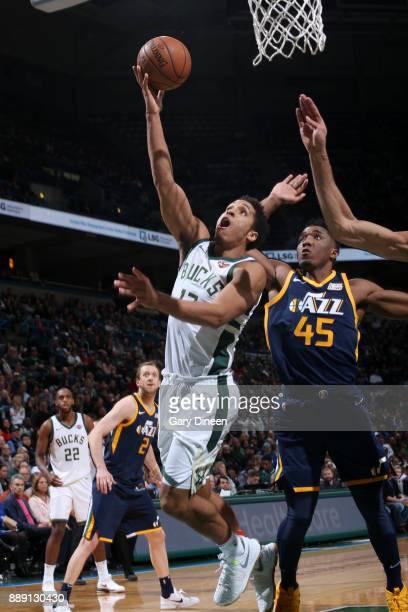Malcolm Brogdon of the Milwaukee Bucks goes to the basket against the Utah Jazz on December 9 2017 at the BMO Harris Bradley Center in Milwaukee...