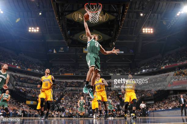 Malcolm Brogdon of the Milwaukee Bucks goes up for a dunk against the Indiana Pacers on February 11 2017 at Bankers Life Fieldhouse in Indianapolis...