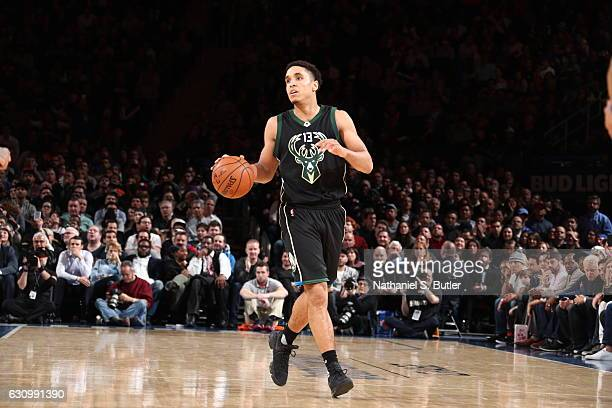 Malcolm Brogdon of the Milwaukee Bucks handles the ball against the New York Knicks on January 4 2017 at Madison Square Garden in New York NY NOTE TO...