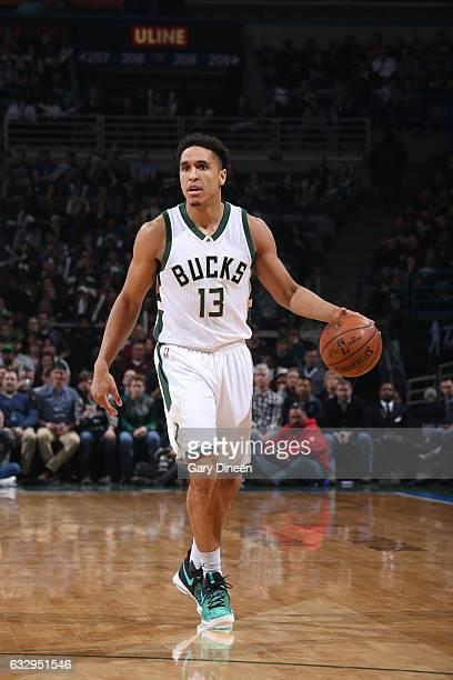 Malcolm Brogdon of the Milwaukee Bucks handles the ball against the Boston Celtics on January 28 2017 at the BMO Harris Bradley Center in Milwaukee...
