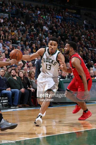 Malcolm Brogdon of the Milwaukee Bucks handles the ball during a game against the Toronto Raptors on March 4 2017 at BMO Harris Bradley Center in...