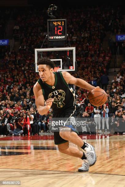 Malcolm Brogdon of the Milwaukee Bucks handles the ball during a game against the Toronto Raptors in Round One of the Eastern Conference Playoffs...