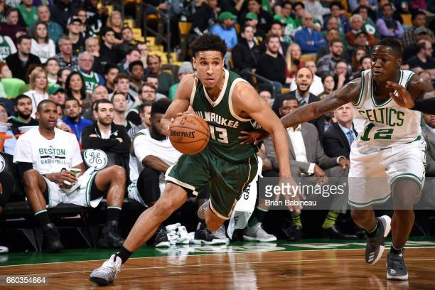 Malcolm Brogdon of the Milwaukee Bucks handles the ball during the game against the Boston Celtics on March 29 2017 at TD Garden in Boston...