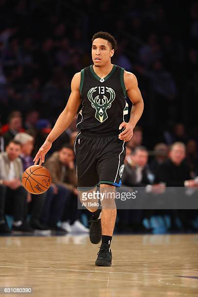 Malcolm Brogdon of the Milwaukee Bucks in action against the New York Knicks during their game at Madison Square Garden on January 4 2017 in New York...