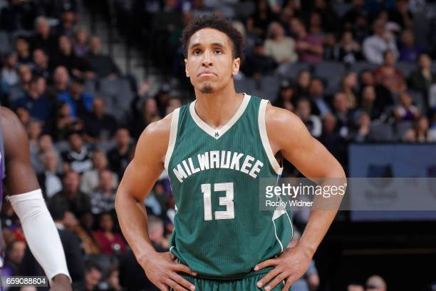 Malcolm Brogdon of the Milwaukee Bucks looks on during the game against the Sacramento Kings on March 22 2017 at Golden 1 Center in Sacramento...