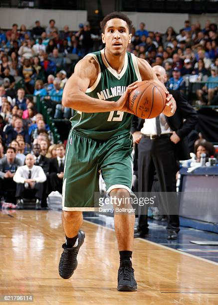 Malcolm Brogdon of the Milwaukee Bucks looks to pass the ball during a game against the Dallas Mavericks on November 6 2016 at the American Airlines...