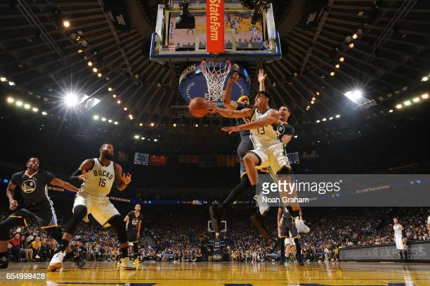 Malcolm Brogdon of the Milwaukee Bucks passes the ball against the Golden State Warriors on March 18 2017 at ORACLE Arena in Oakland California NOTE...