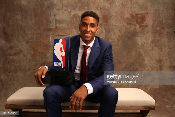 Malcolm Brogdon of the Milwaukee Bucks poses for a portrait after receiving the Kia NBA Rookie of the Year award at the NBA Awards Show on June 26...