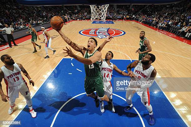 Malcolm Brogdon of the Milwaukee Bucks shoots the ball against the Detroit Pistons on December 28 2016 at The Palace of Auburn Hills in Auburn Hills...