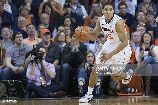 Malcolm Brogdon of the Virginia Cavaliers brings the ball up the court during the first half against the Georgia Tech Yellow Jackets at the John Paul...