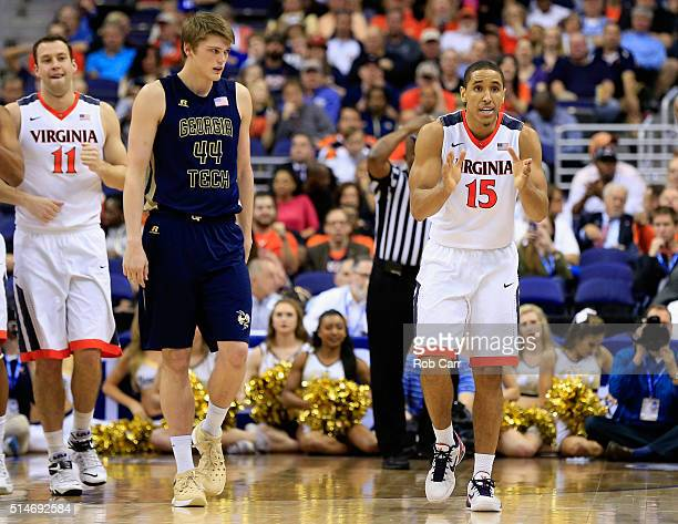 Malcolm Brogdon of the Virginia Cavaliers celebrates in the second half of the Cavaliers 7252 win over the Georgia Tech Yellow Jackets during the...