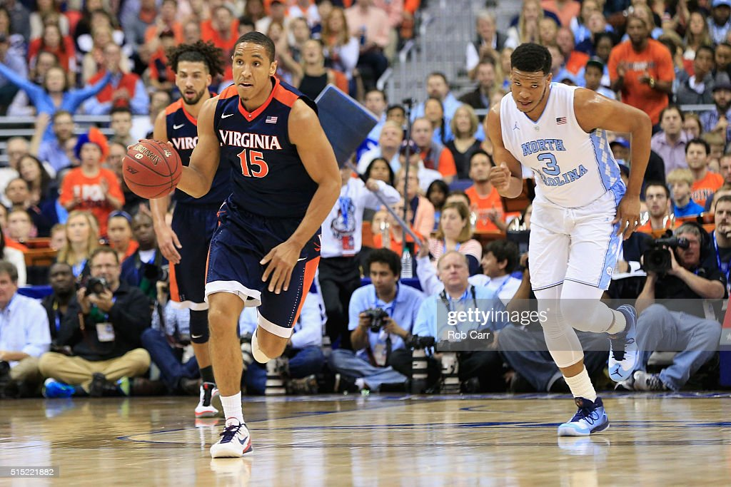 <a gi-track='captionPersonalityLinkClicked' href=/galleries/search?phrase=Malcolm+Brogdon&family=editorial&specificpeople=8768599 ng-click='$event.stopPropagation()'>Malcolm Brogdon</a> #15 of the Virginia Cavaliers dribbles the ball in the first half against the North Carolina Tar Heels during the finals of the 2016 ACC Basketball Tournament at Verizon Center on March 12, 2016 in Washington, DC.