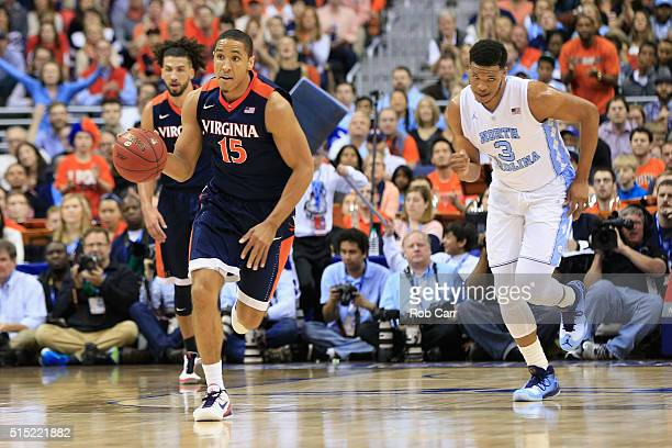 Malcolm Brogdon of the Virginia Cavaliers dribbles the ball in the first half against the North Carolina Tar Heels during the finals of the 2016 ACC...