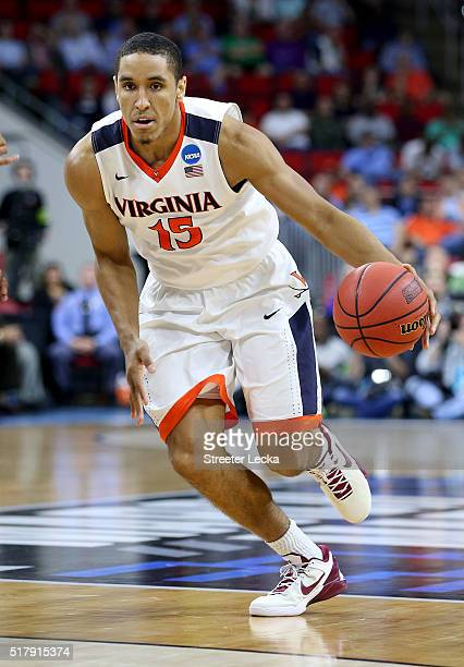 Malcolm Brogdon of the Virginia Cavaliers during the first round of the NCAA Men's Basketball Tournament at PNC Arena on March 17 2016 in Raleigh...
