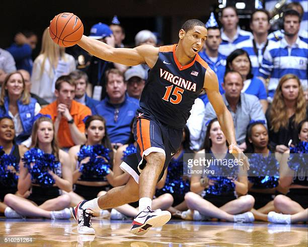 Malcolm Brogdon of the Virginia Cavaliers moves the ball against the Duke Blue Devils at Cameron Indoor Stadium on February 13 2016 in Durham North...