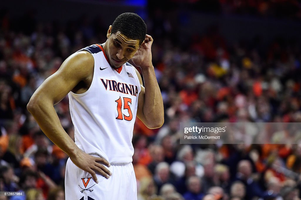 <a gi-track='captionPersonalityLinkClicked' href=/galleries/search?phrase=Malcolm+Brogdon&family=editorial&specificpeople=8768599 ng-click='$event.stopPropagation()'>Malcolm Brogdon</a> #15 of the Virginia Cavaliers reacts in the second half during their game against the North Carolina Tar Heels at John Paul Jones Arena on February 27, 2016 in Charlottesville, Virginia.